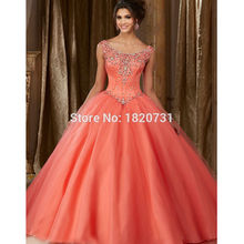 Buy Coral Ball Gown Quinceanera Dresses And Get Free
