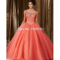 Vestidos de 15 anos Coral Quinceanera Dresses 2019 Ball Gown Luxury Beaded Detachable Shoulder Cheap Debutante Dress Party