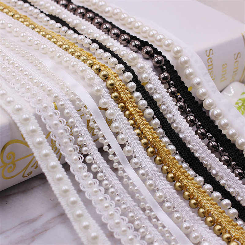 1 Yards White/black Pearl Beaded Lace Trim Tape Lace Ribbon African Lace Fabric Collar Dress Sewing Garment Headdress Materials