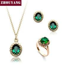 ZYS107 Oro Creado Verde Esmeralda de Cristal Austriaco Joyería Conjunto Con 3 Unids Anillo + Collar + Eearrings