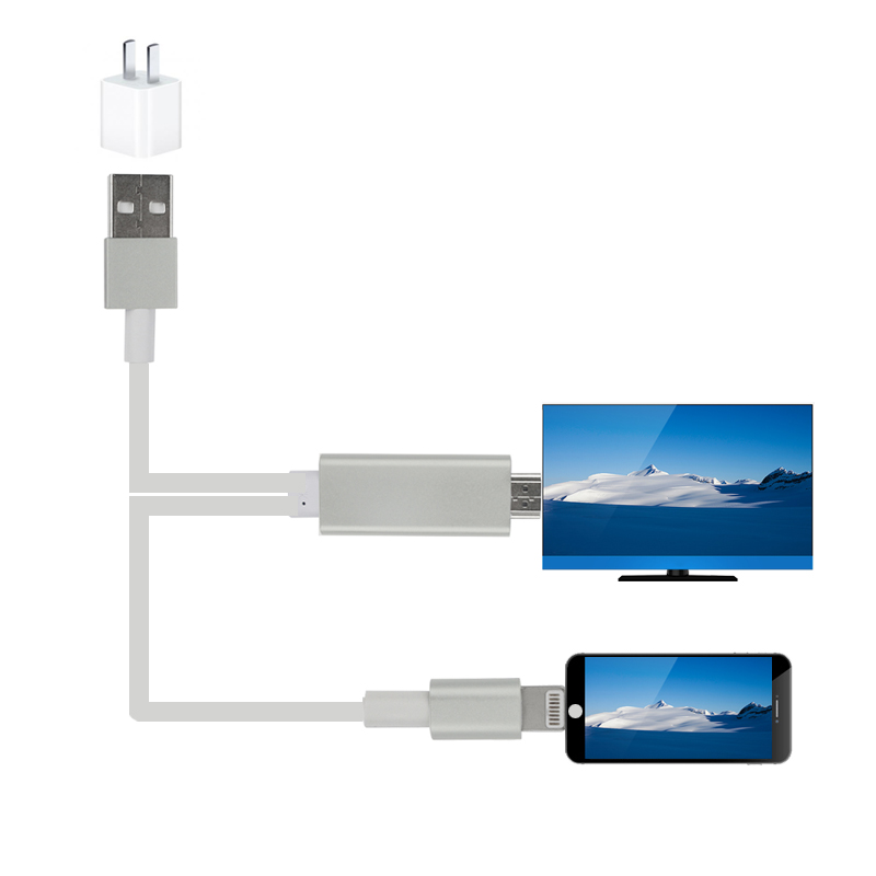 1.8m High Speed 8Pin MHL to HDMI Cable 1080P HDTV USB to HDMI Cable Adapter Sync For iphone 5 5s 6 6s Plus for Ipad 4 Air Mini
