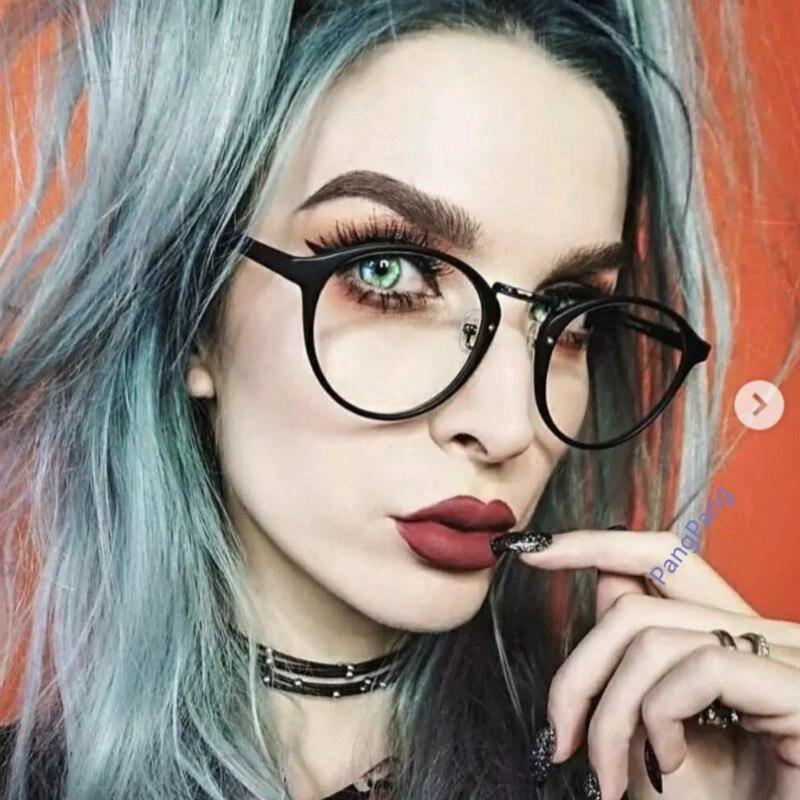2018 Schwarz Runde Brille Rahmen Klare Linse Frauen Spektakel Myopie Brille Männer Brillen Rahmen Nerd Optische Rahmen Klar Mit Einem LangjäHrigen Ruf
