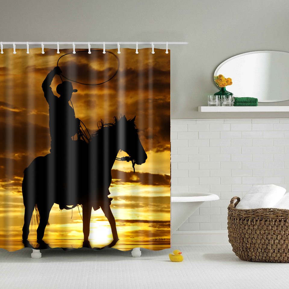 Waterproof Shower Curtains Horse in the sunset printed Polyester Bathroom Curtains With Hooks 180x180cm Decorative Bathtub