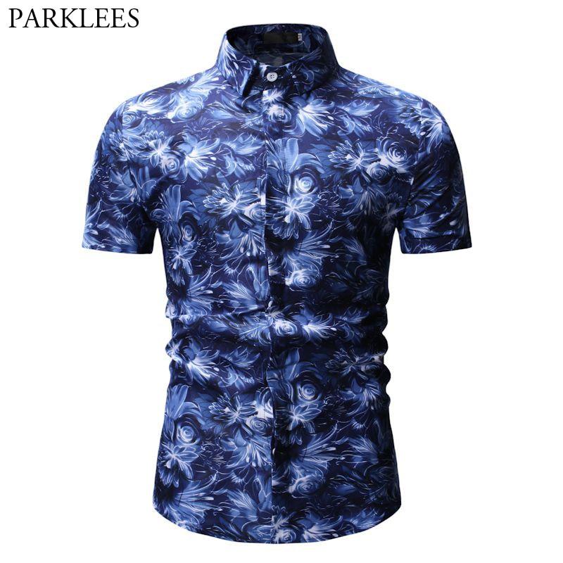 Summer Short Sleeve Shirt Men 2019 Summer New Floral Print Hawaiian Shirt Men Slim Fit Casual Plus Size Hawaii Shirts Chemise