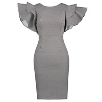 Sisjuly Women S Vintage Dress 2017 New Summer O Neck Short Cascading Ruffle Sleeve Bodycon Houndstooth