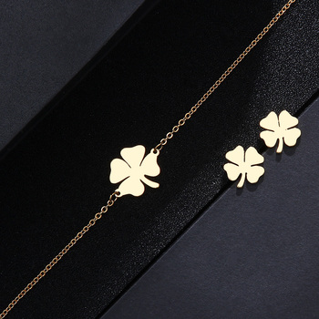 CACANA Stainless Steel Sets For Women Clover Shape Necklace Bracelets Earrings 2