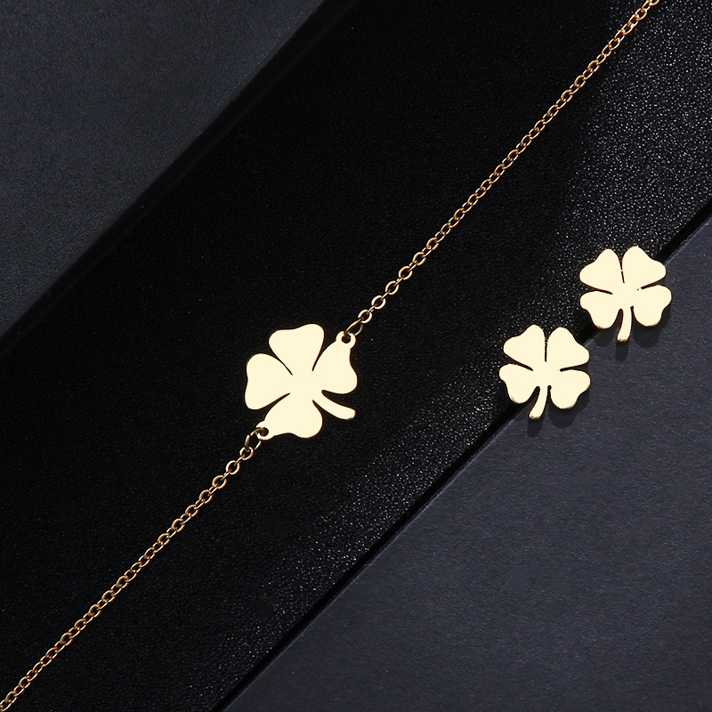 Cacana Stainless Steel Sets For Women Clover Shape Necklace Bracelets Earrings For Women Lover's Engagement Jewelry S79 #3