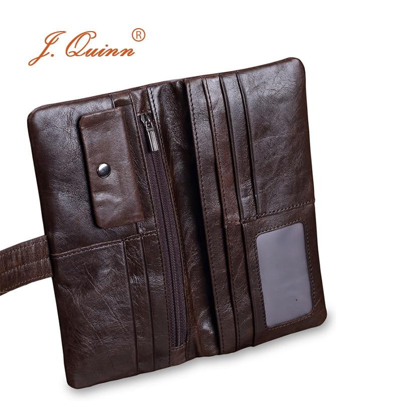 J.Quinn Retro Male Leather Clutch Wallets Long Bifold Coin Pocket Genuine Cow Mens Zipper Wallet Purse Soft String Card Purses цена и фото