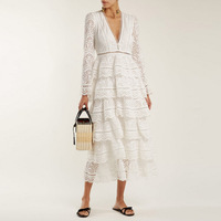 Women Long Sleeve V Neck Hollow Out Lace Bohemian White Fringed Midi Dress