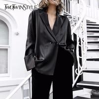 TWOTWINSTYLE Black Sexy V Neck Shirt Tops Female Notched Long Sleeve Women's Blouse Coat Oversized 2018 Summer Europe Fashion