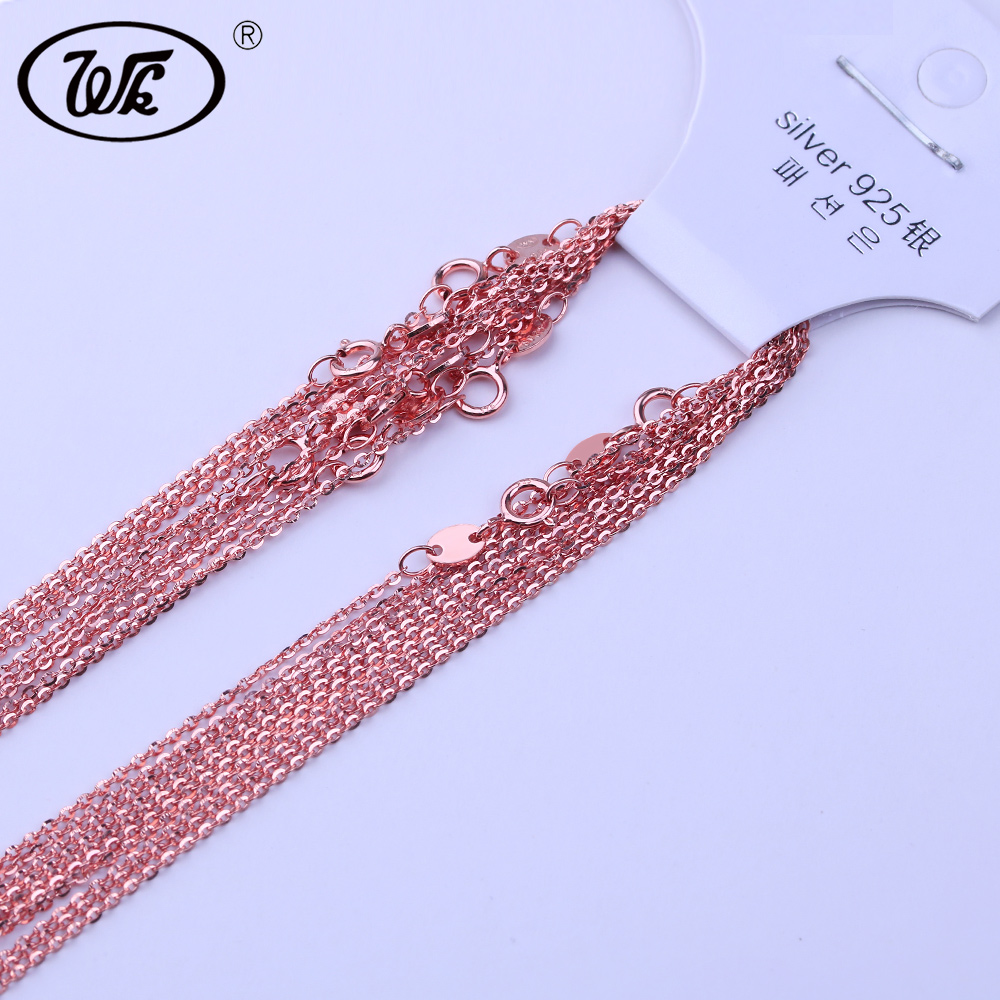 WK 5PCS 10PCS 20PCS 50PCS 100PCS/LOT 925 Silver Link Chain With Lobster Clasp Rose Gold Color 1MM S925 Chain Jewelry Lots NA006 цены