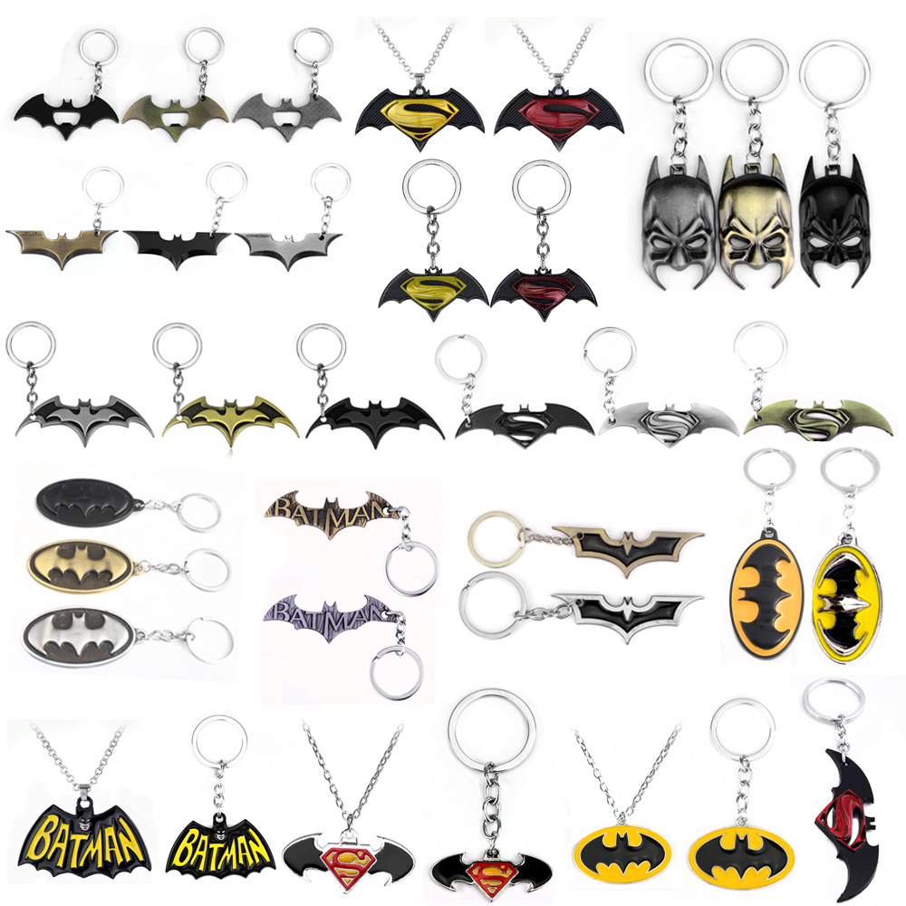 SG Movie Avengers 3 Batman Logo Pendants Keychains Super Hero Superman Spider Thor Bat Iron Man Keyring Cosplay Llaveros