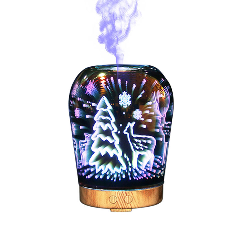 3D Glass Night Lights Colorful Aromatic 3D Humidifier Glass lamp Oil Diffuser Christmas LED lighting for Indoor Room