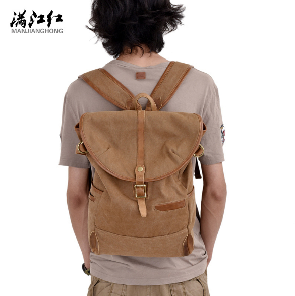 2017 new fashion men casual horse  leather stitching  canvas backpacks bag large capacity  15 inch computer bag school lapt bag casual canvas satchel men sling bag