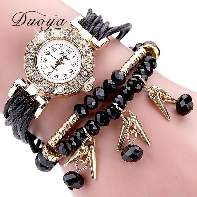 Duoya Brand Watches Women Black Luxury Crystal Bracelet Watch Fashion Women Dres