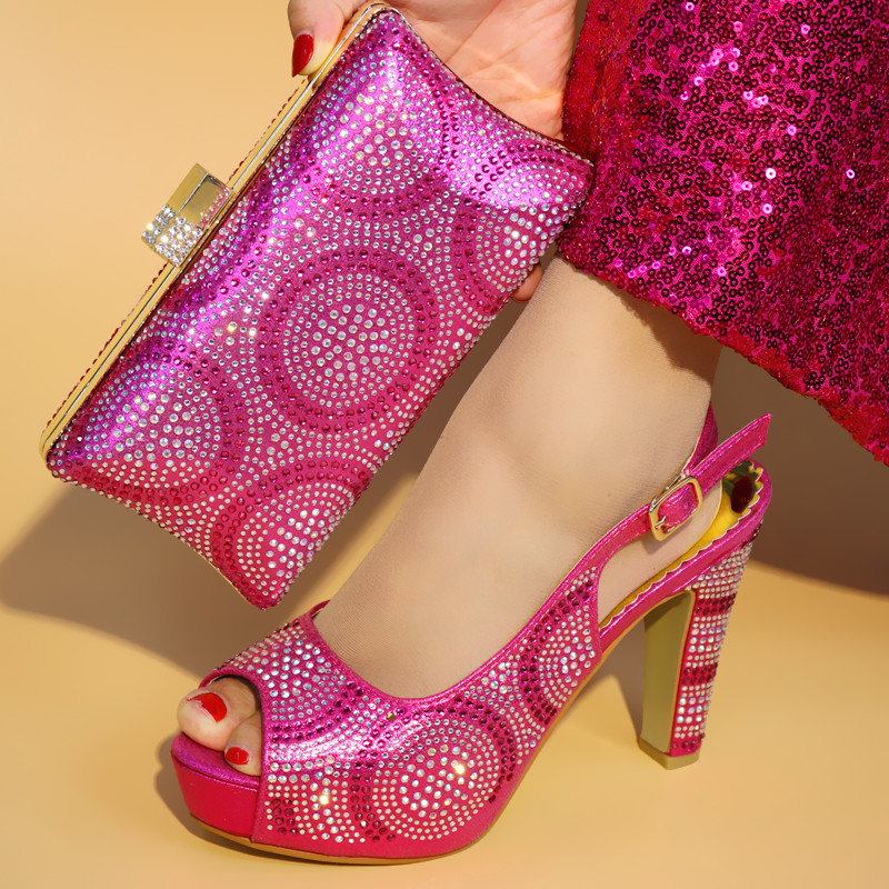 Latest Fuchsia Italian Shoes with Matching Bags Set African Matching Shoes and Bags Italian In Women Nigerian Shoes and Bags