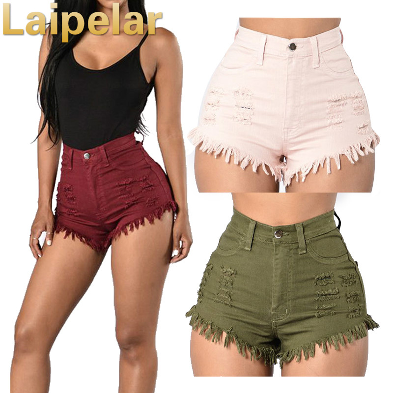 Laipelar High Waist Denim Shorts Jeans for Women Ripped Fashion Summer Casual Sexy