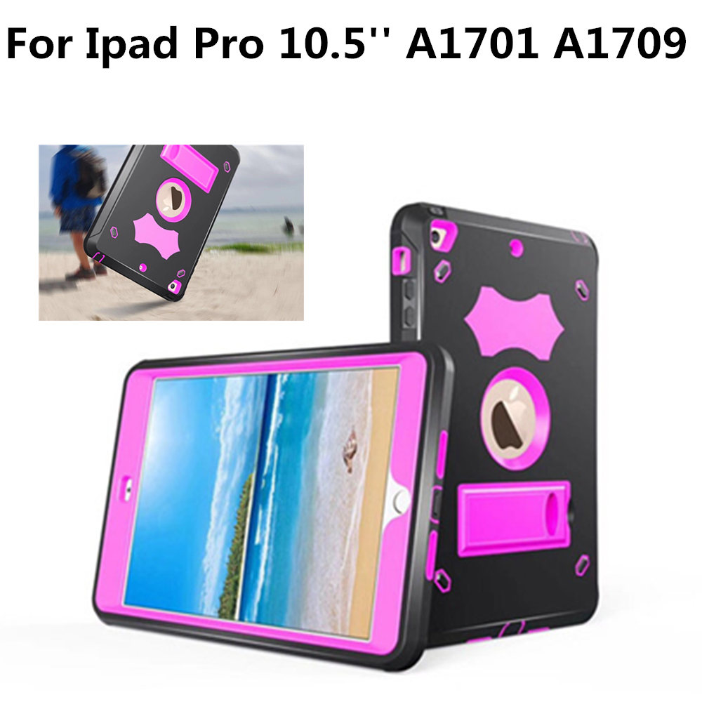 Kids Safe Case for New iPad pro 10.5 A1701 A1709 shockproof heavy duty kickstand 3 layer protective TPU Silicone Plasic