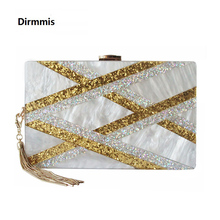 2019 New Acrylic Brand Fashion Women Evening Bags Luxury Gold Sequined Handbags Elegant Tassel Party Prom Wedding White Clutch women s elegant tassel pendant silk evening party clutch bags necessary for parties