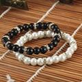 BB0163 2015 горячей продажи стиль моды черный и белый имитация жемчуга браслет из бисера, жемчужный браслет женщин и девочек!