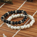 BB0163 2015 hot sales fashion style black and white imitation pearl beaded bracelet, pearl bracelet women and girls !