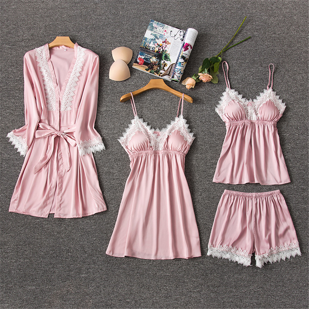 Daeyard Silk   Pajamas   Sleepwear For Women Sexy Lace Trim V-Neck Robe Gown   Set   And Cami Shorts 4 Pieces   Pajama     Set   Home Clothes