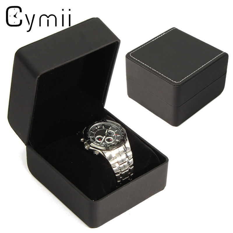 Cymii 1pcs black wrist watch display watches box case jewelry storage holder organizer for Watches box