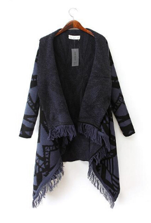 Зимняя женская цветная контрастная Асимметричная хиппи бохо Этническая вязаная кисточка кардиган свитер пальто накидка Топы - Цвет: Фиолетовый