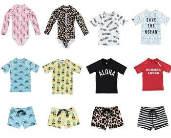 UPF 50 + stroje kąpielowe dla dzieci koszulki spodenki nowe letnie zestawy ubrań dla chłopców strój kąpielowy z krótkim rękawem dziewczyny stroje kąpielowe kostiumy kąpielowe tanie i dobre opinie Jokkzo Moda O-neck Swetry ADNY10 Poliester COTTON Unisex REGULAR Pasuje mniejszy niż zwykle proszę sprawdzić ten sklep jest dobór informacji