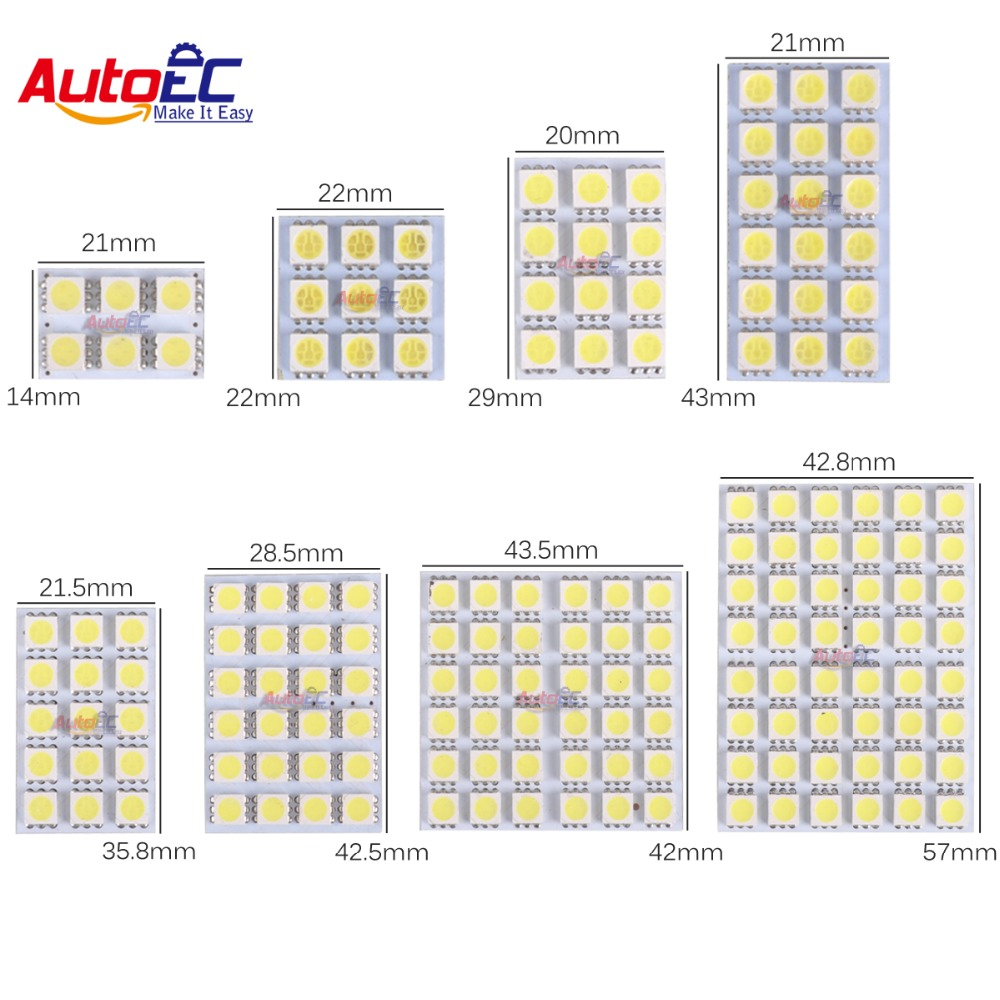 AutoEC 4X Led Panel 6/9/12/15/18/24/36/48 SMD 5050 T10 Ba9s Adapter Festoon Dome Light Accessories Աքսեսուարներ Car Auto motor DC12V # LL13