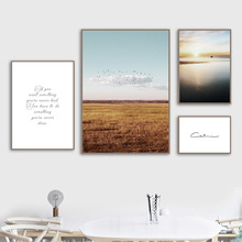 Canvas Art Print Bird Grassland Sea Quotes Nordic Posters And Prints Wall Painting Pictures For Living Room