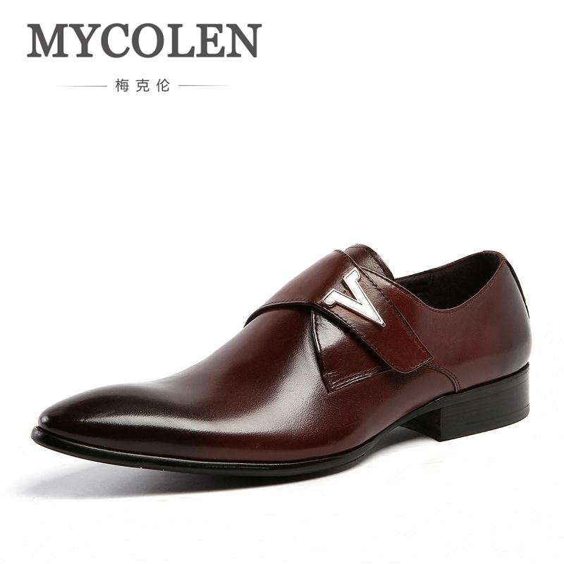 MYCOLEN Men Formal Shoes Luxury Business Dress Shoes Full Leather Pointed Toe Loafers Men Wedding Leather Shoe Black Moccasins patent leather men s business pointed toe shoes men oxfords lace up men wedding shoes dress shoe plus size 47 48