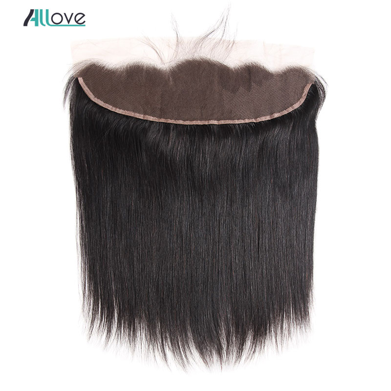 Allove Brazilian Straight Frontal 13x4 inch Human Hair Frontal Closure with Baby Hair Non Remy Ear