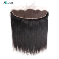 Allove Brazilian Straight Frontal 13x4 inch Human Hair Frontal Closure with Baby Hair Non Remy Ear to Ear Lace Frontal Closure