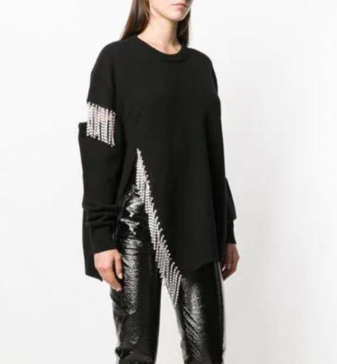 De Tricoté Luxe Cristal Embellissements Chandail Beige Femmes Hiver Cut Vêtements Cristaux Jumper noir Out Swishy Pulls 2018 Femelle 5jRL43A