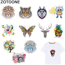 ZOTOONE Animal Wolf Tiger Stickers Flower Patches Iron on Transfers for Clothes T-shirt Heat Transfer DIY Accessory Appliques F1