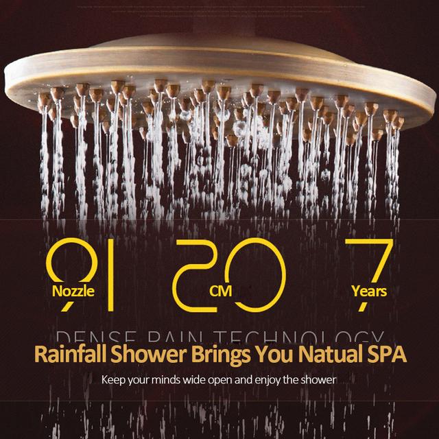 """Quyanre Antique Brass Shower Faucets Set 8"""" Rainfall Shower Commodity Shelf Dual Handle Mixer Tap Swivel Tub Spout Bath Shower"""