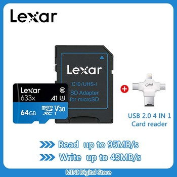 Lexar Memory Card 128GB 64GB U3 95MB/S 32GB Micro sd card Class10 UHS-1 TF flash Microsd Cards for tablets and Sports cameras
