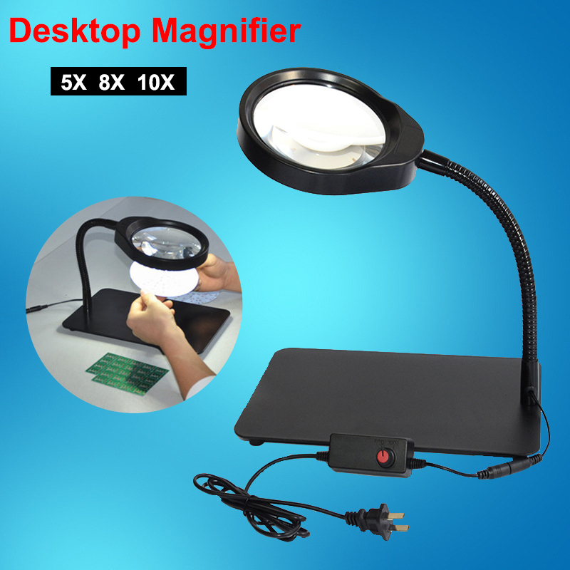 New Arrival Desktop magnifier USB with LED light 5X 8X 10X for maintenance PC board reading micro engraving magnifying glass new universal desktop magnifier usb with led light 10x for maintenance reading micro engraving magnifying glass
