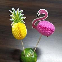 144pcs 2017 new New three - dimensional pineapple flamingo fruit toothpick flower sign flamingo party supplies