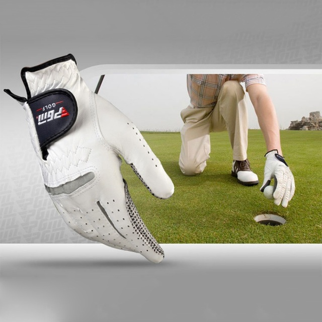 Men's Genuine Leather Golf Gloves Left Right Hand Soft Breathable Pure Sheepskin With Anti-slip granules mitten 1