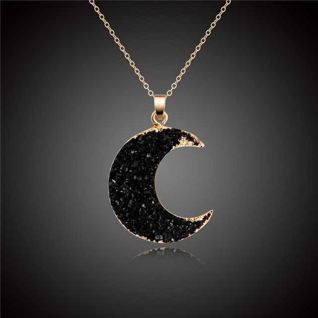 1PC New Pink Black Moon Resin Stone Pendant Necklace Women Druzy Drusy Gold Color Chain Necklace for Female Link Chain