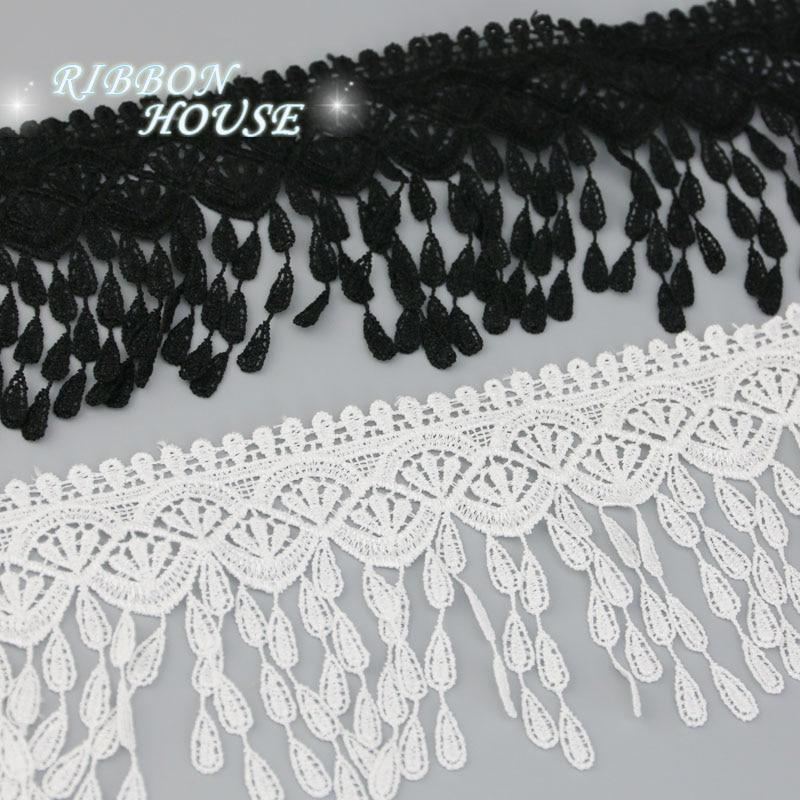 (1 ярдов/рулон) 70 мм белый черный Шелковый сетчатый кружевной тканевые ленты отделка DIY Швейные материалы ручной работы для поделок