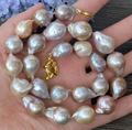 Jewelr 005427 15x20MM natural Purple Nucleated Flameball Baroque Pearl Necklace