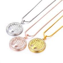 Ожерелье с круглым кулоном из кристалла «Древо жизни» Золотая