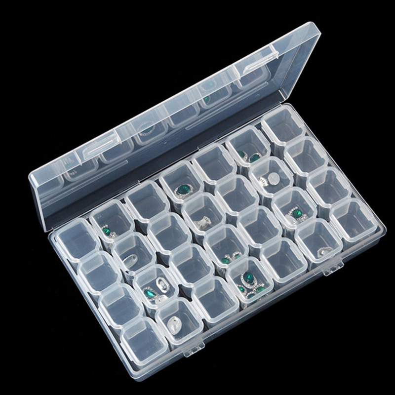 28 Grids Jewelry Box Necklace Earring Jewelry Organizer Diamond Embroidery DIY Crystal Beads Storage Boxes Separate Jewelry Case