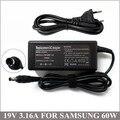 19 В 3.16A 60 Вт AC Адаптер Зарядное Устройство Ноутбука Шнур Питания Для Ноутбука Samsung AD-6019R AD-9019 AA-PA0N90W AP04214-UV