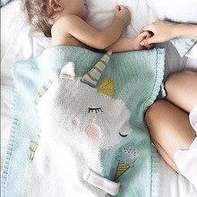Муслиновые одеяла для пеленания с единорогом для новорожденных; вязаные рождественские одеяла для новорожденных; детские коврики для младенцев; детское одеяло; теплое одеяло с изображением животных