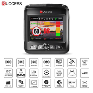 Image 2 - Ruccess araba dvrı Radar dedektörü GPS 3 in 1 Full HD 1296P 1080P Video kaydedici kamera çift lens Dash kamera Speedcam rus
