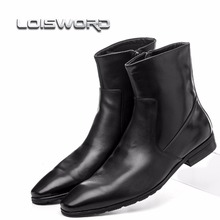 Quality fashion zipper pointed toe black mens ankle boots genuine leather boots mens winter shoes motorcycle boots